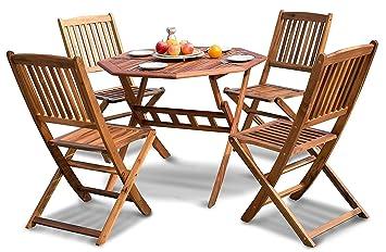 Leisure Zone® Mesa de patio plegable y sillas 5 piezas para ...