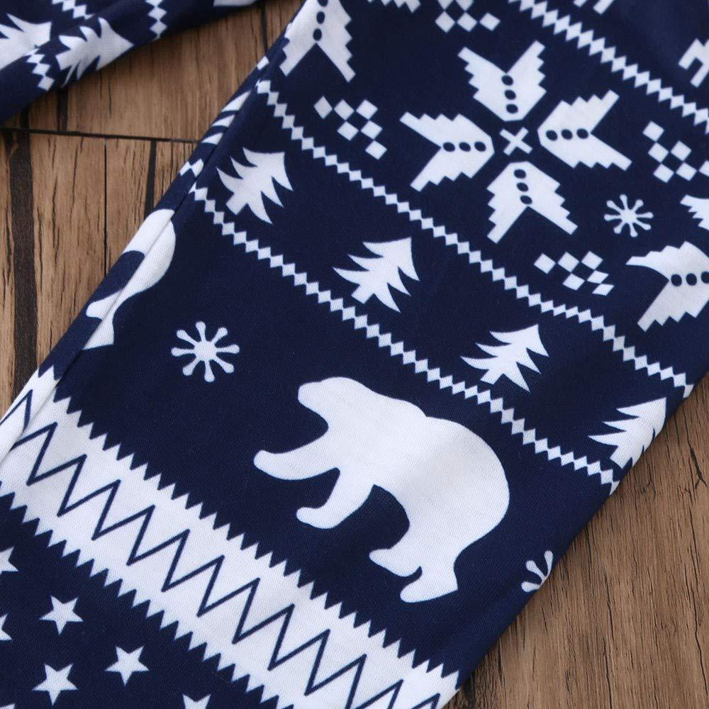 Rotwild Pants Blingko Familien Pyjamas Babykarikatur Buchstabespielanzug des Kleinkindes des Weihnachten 3Pcs Hat Familienkleidung