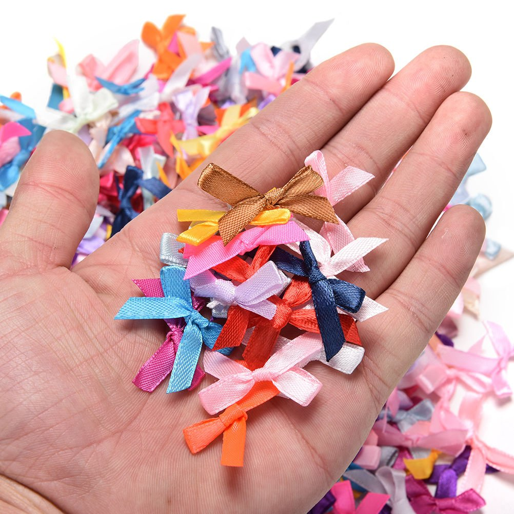 500X Assorted Mini Satin Ribbon Bows Tied Craft Embellishment Wedding Decor、Nice