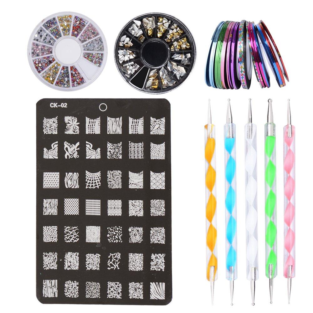 4 in 1 Nägel Design Set: 2 Set Strasssteine + 30 Striping Tapes + 5 Punktierung Kugelschreiber + 1 Nail Stamping Druckplatte, Nageldesign Stift Steine Perlen Fingernägel Machen QUMAO QM-GB10061