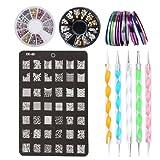 Kit de Nail Art Manucure Autocollants à Ongles-Diamant Décoration Ongle d'Art Nail Sticker Fil Doubles Pointes à Décor et Timbres Plaque