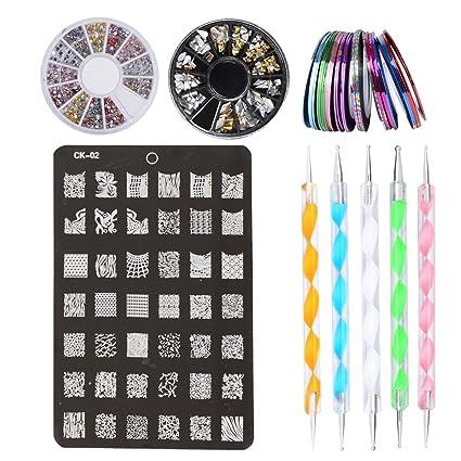 Kit De Accesorios Decoración Uñas Nail Art 30 X Rollos De Cintas Adhesivas Uñas 1 X Placa Plantilla 2 X Cajas De Pegatinas 5 X Pinceles Para