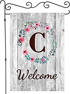 JAWO Welcome Rustic Barn Gray Wooden Wall with Initial Letter Garden Flags Monogram C Garden Flag House Banners Yard Flag Outdoor Flags Single Side Flag 12X18 Inches