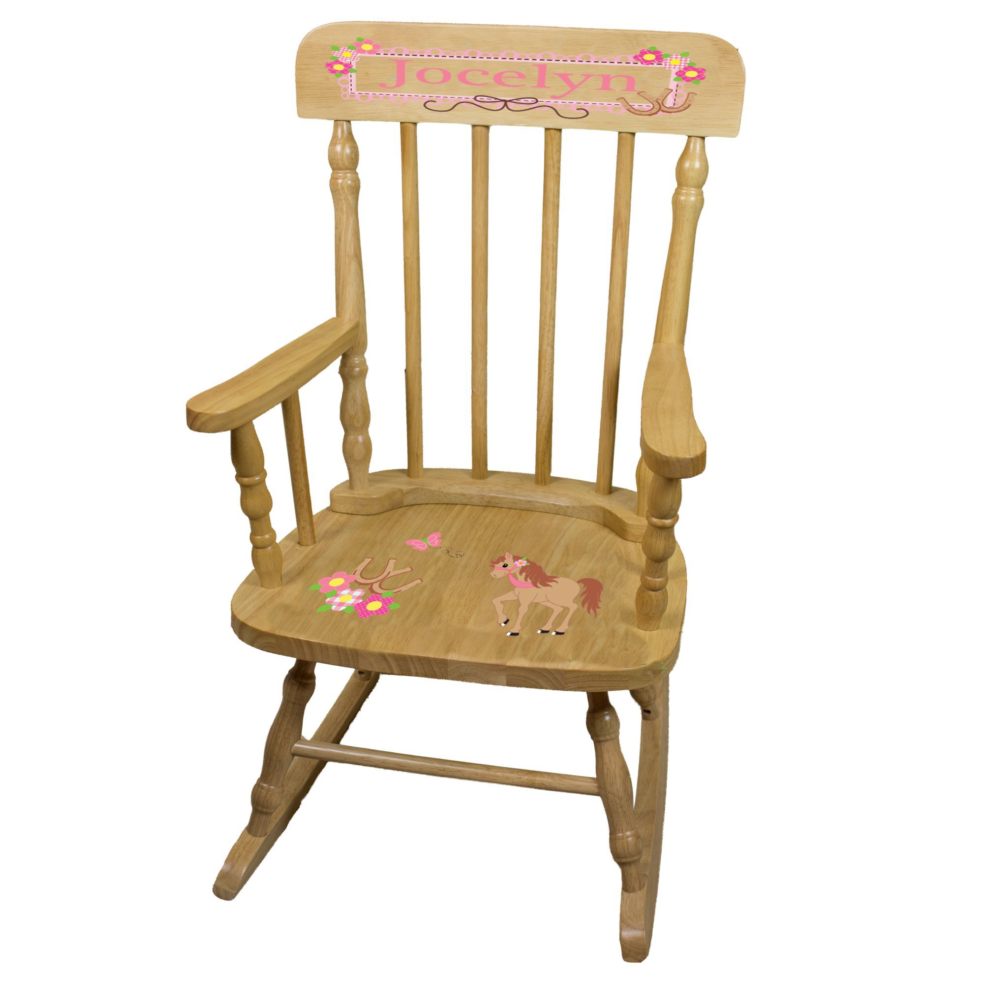 Personalized Ponies Prancing Wooden Childrens Rocking Chair
