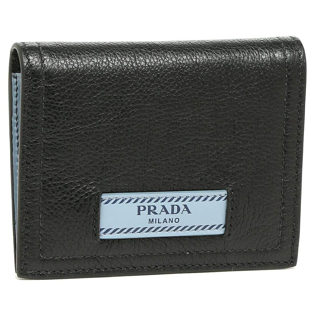 [プラダ]折財布 レディース PRADA 1MV204 2BMU F0OK0 ブラック ライトブルー [並行輸入品] B07HWYKHGN