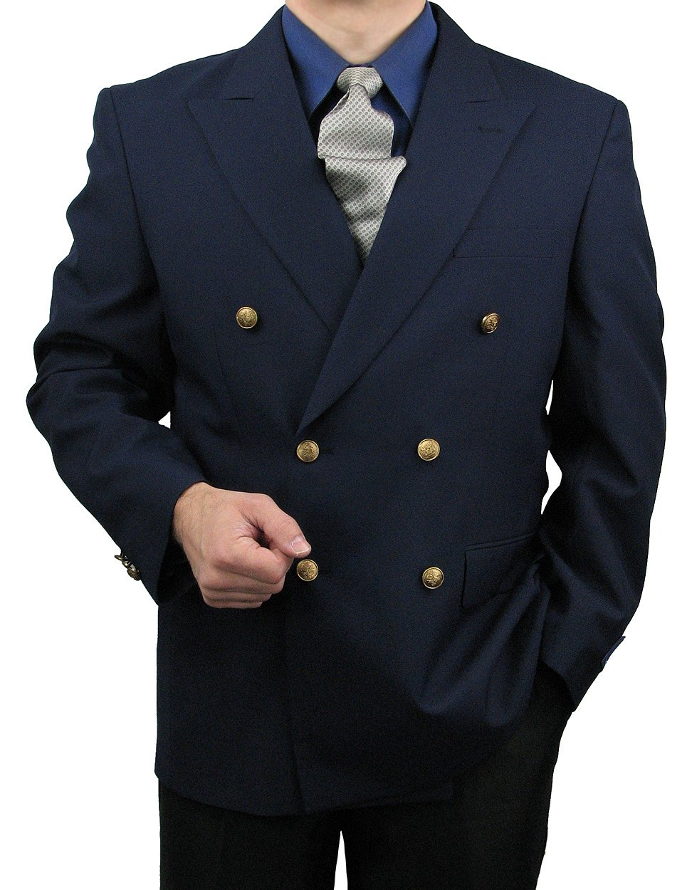 Triple Blessings Men's Classic Fit Double-Breasted Blazer Jacket Sports Coat w/One Pair Of Dress Socks - Navy 46R by Triple Blessings (Image #3)
