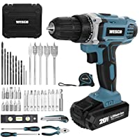 Cordless Drill/Driver, WESCO 20V Electric Drill Set 42pcs with Lithium-ion Battery and Charger, 21+1 Clutch, 120 In-lbs Torque, 3/8