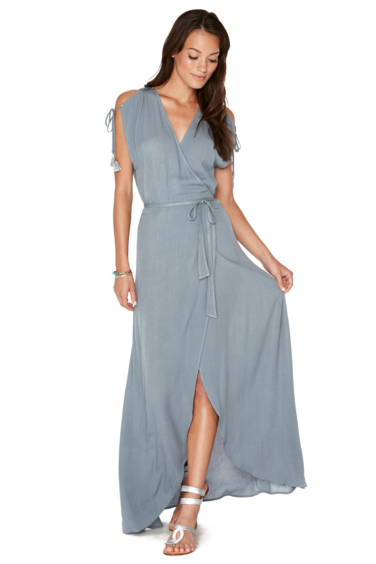 L*Space LSpace Women's Threads Maxi Dress Swim Cover Up Slated Glass S