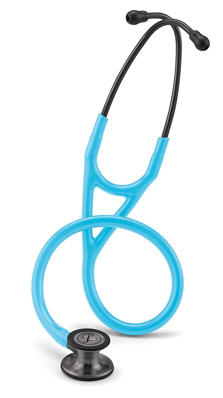 3M Littmann Cardiology IV Fonendoscopio, campana de acabado en color negro-humo, tubo azul turquesa, vástago y auriculares en color negro-humo, 68cm, 6171