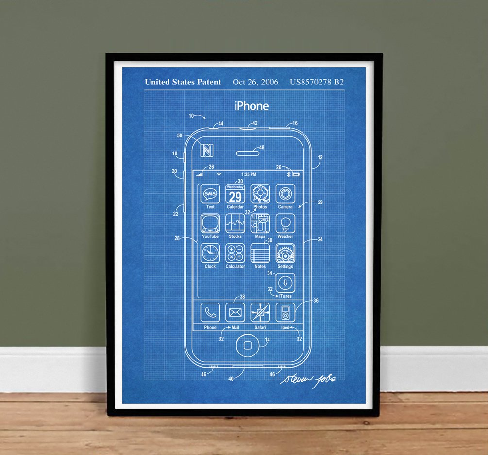 Amazon iphone invention poster 2006 patent art handmade gicle amazon iphone invention poster 2006 patent art handmade gicle gallery print unframed 18x24blueprint posters prints malvernweather Image collections