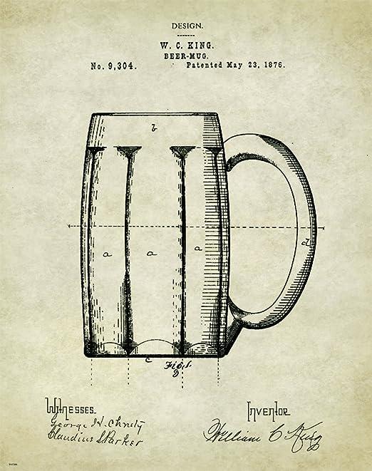 Beer Mug Patent Poster Art Vintage Bar Tavern Signs Home Brewing Kits PAT35