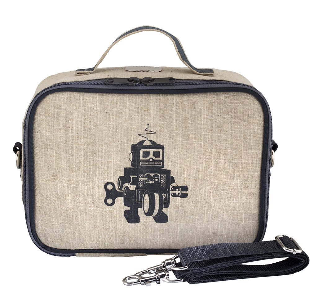 SoYoung Grey Robot Raw Linen Insulated Lunch Box