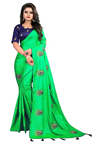 1b636acd883880 IndoPrimo Women s Art Silk Saree With Blouse Piece (Green)  Amazon ...
