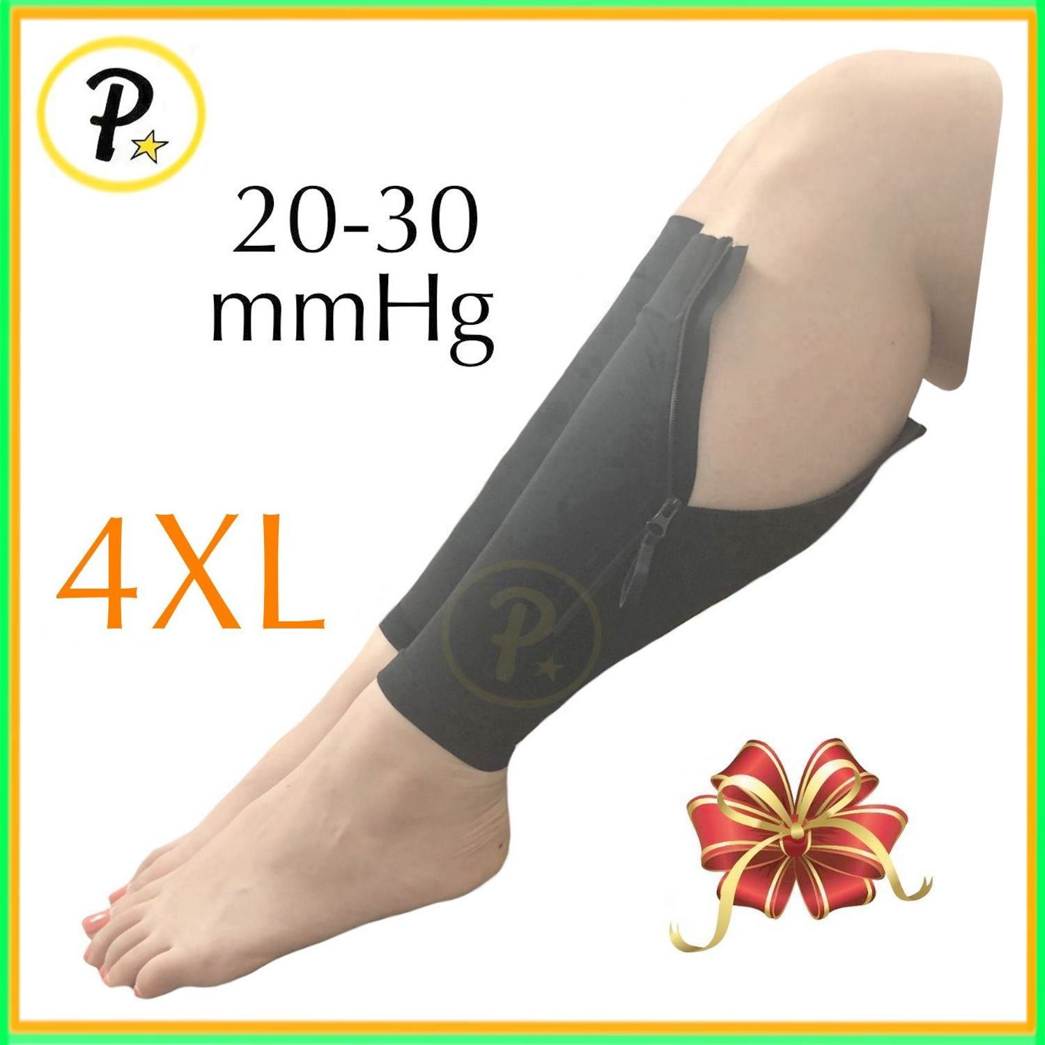 Presadee New Big Tall Calf Sleeve with Zipper 20-30 mmHg Compression Extra Wide Shin Energize Leg Swelling Circulation (Black, 4XL)