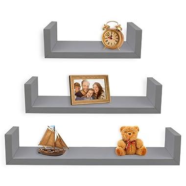 Greenco Set of 3 Floating U Shelves, Gray Finish