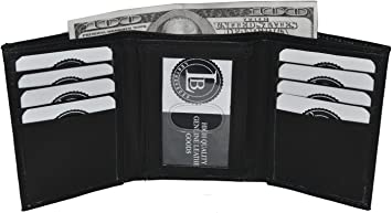 Trifold 8 Credit Card 2 ID Men/'s Leather Wallet Black Mens Wallet by Leatherboss