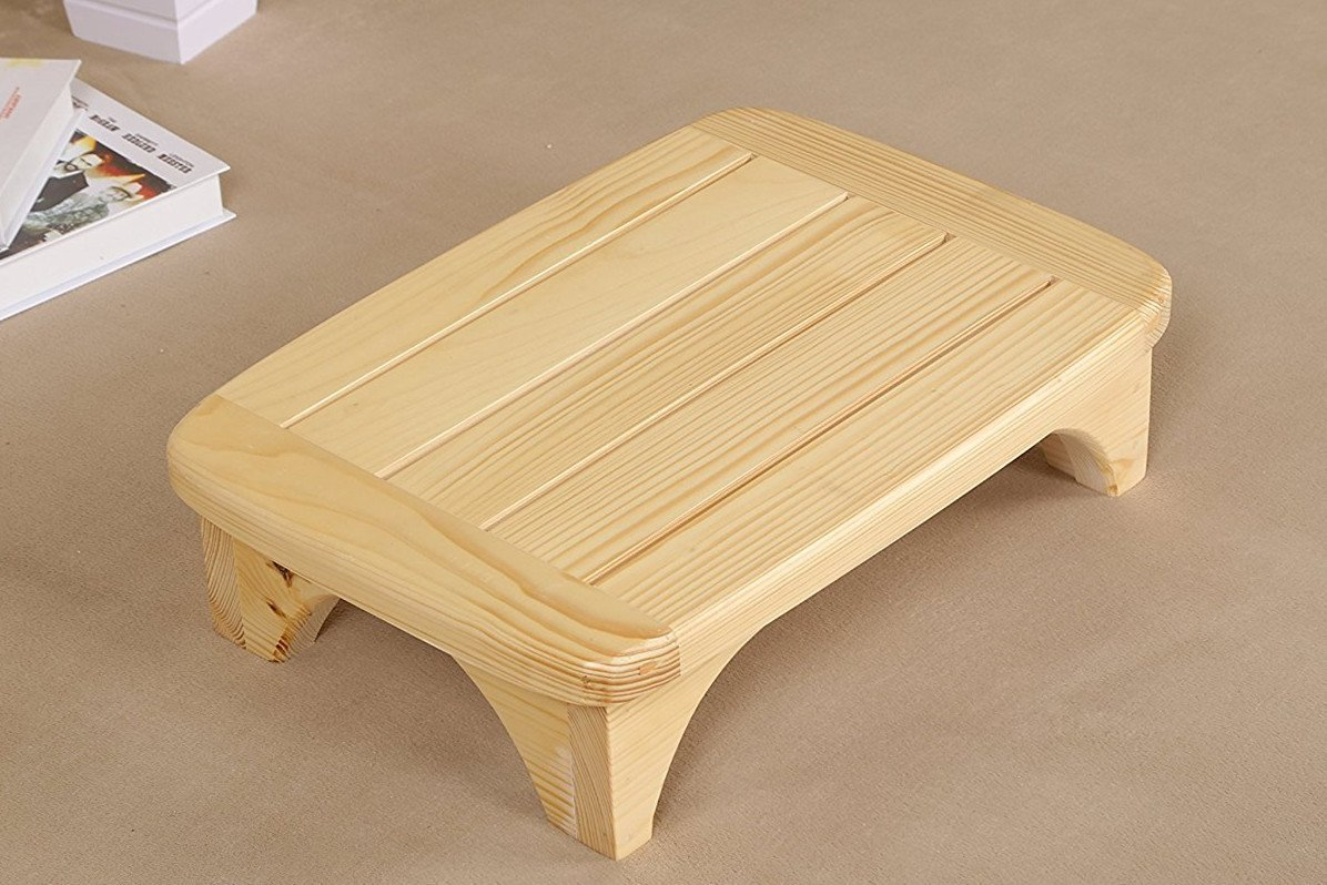 Welcare PAINED-Handcrafted 100% Solid Wood Step Stool-Foot Stool Kitchen Stools Bed Steps small step ladder Bathroom Stools
