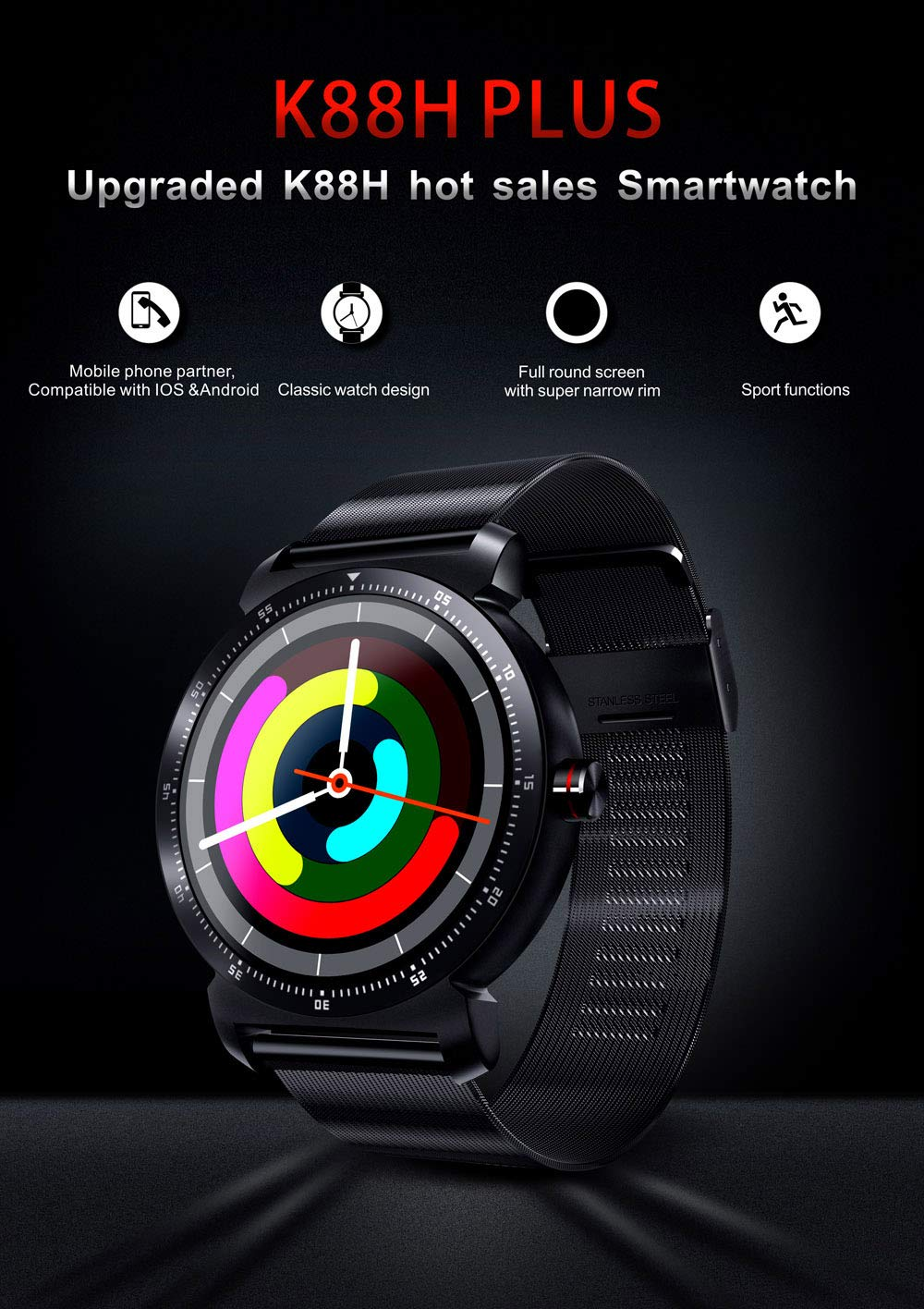 iCoverCase Reloj Inteligente Smart Watch Hombres Mujeres ...