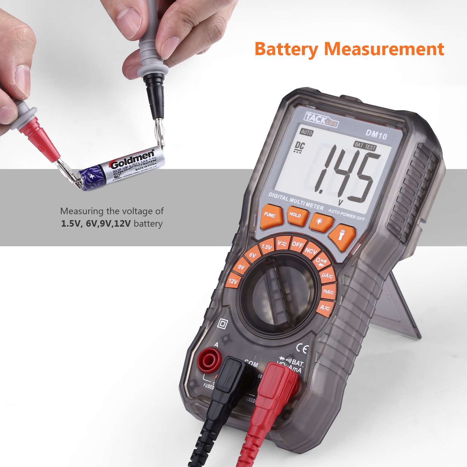 Tacklife Multimeter Dm10 Digital Electrical Tester Auto Ranging Buy Circuit Testerelectrical Testerac Dc Voltage Battery Ac Current Resistance Continuity Diode Measuring Meter With