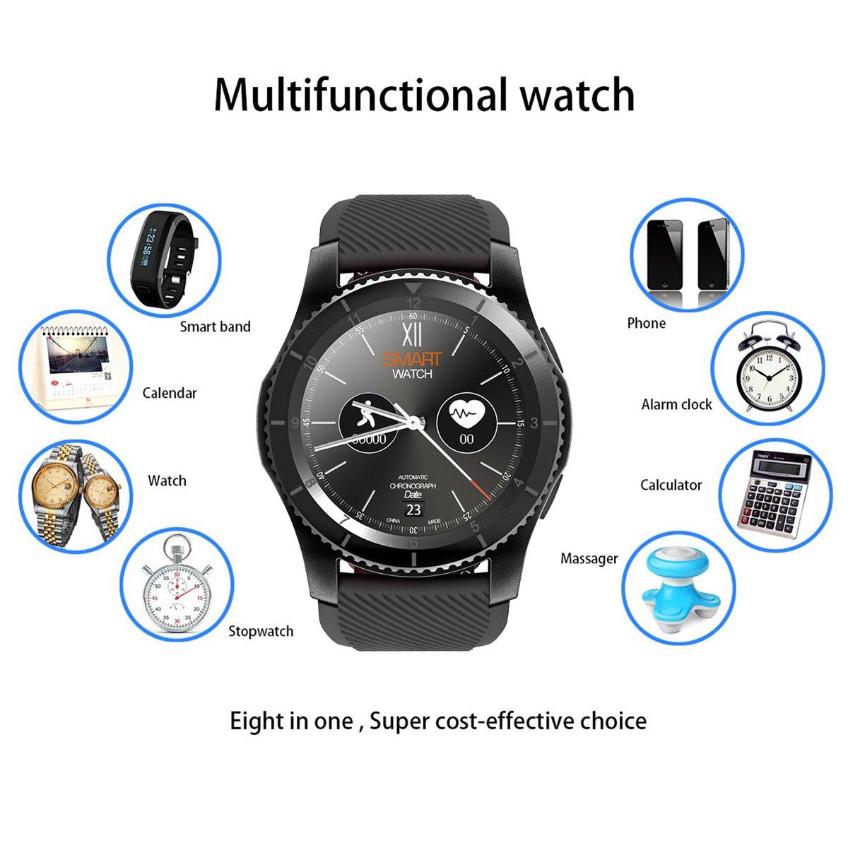 Kivors Reloj Inteligente Classic Ronda de pantalla táctil Sports Fitness Tracker Monitoreo de Frecuencia Cardiaca Monitor de Sueño Sincronización con ...