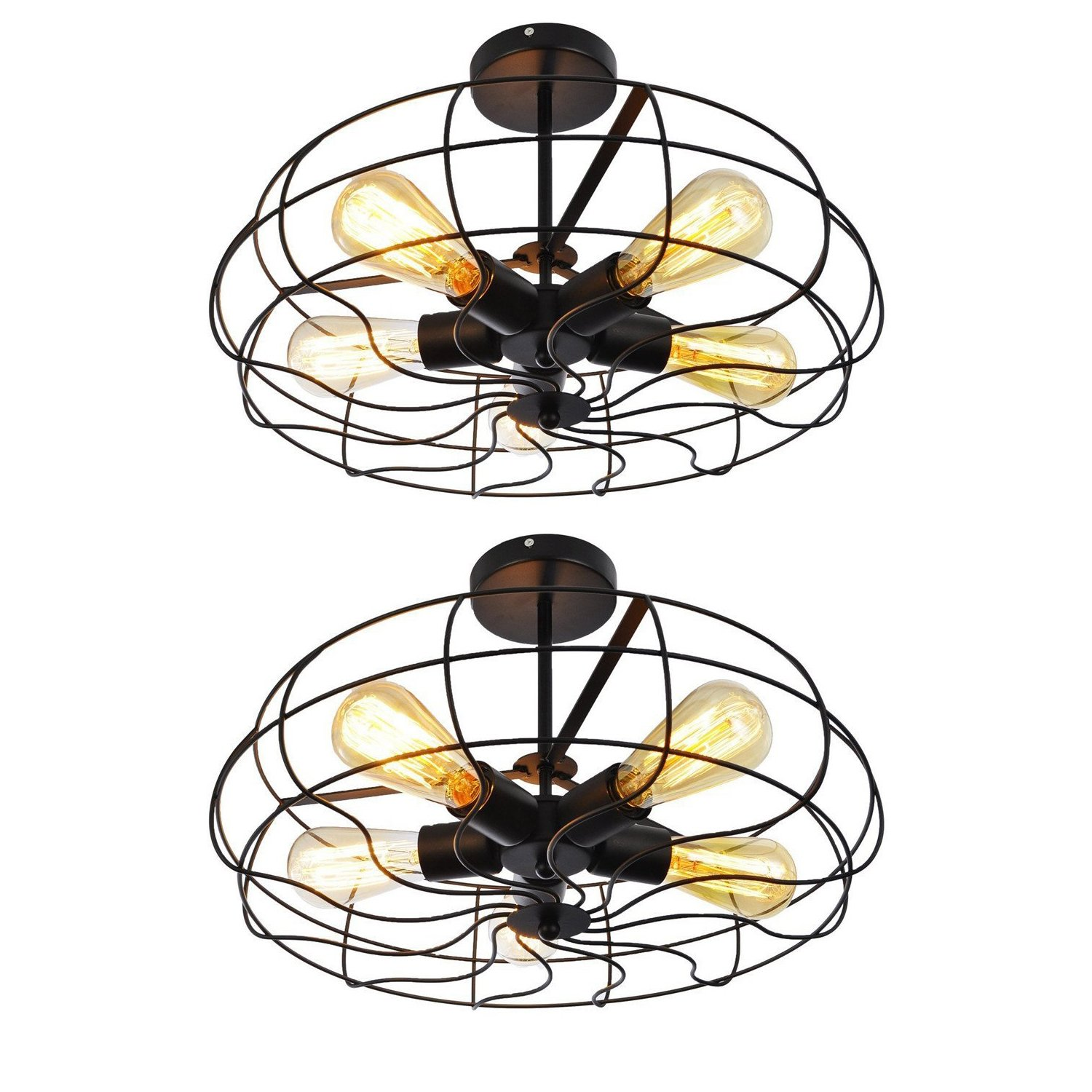Ceiling Light, MKLOT Industrial Fan Style Wrought Iron Semi Flush Mount 18.11 Wide Ceiling Pendant Light Chandelier with 5 Lights - Environmentally Ceramics Caps(2 Pack)