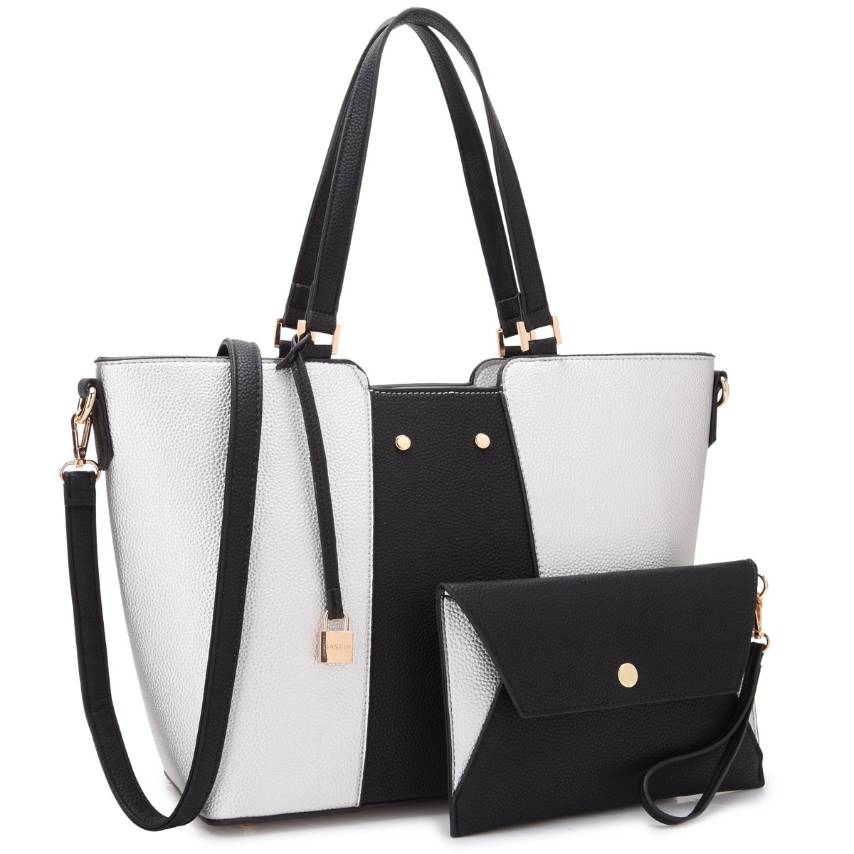 MMK collection Fashion Women Purses and Handbags Ladies Designer Satchel Tote Bag Shoulder Bags and coin purse(19-7608-SL/BK)