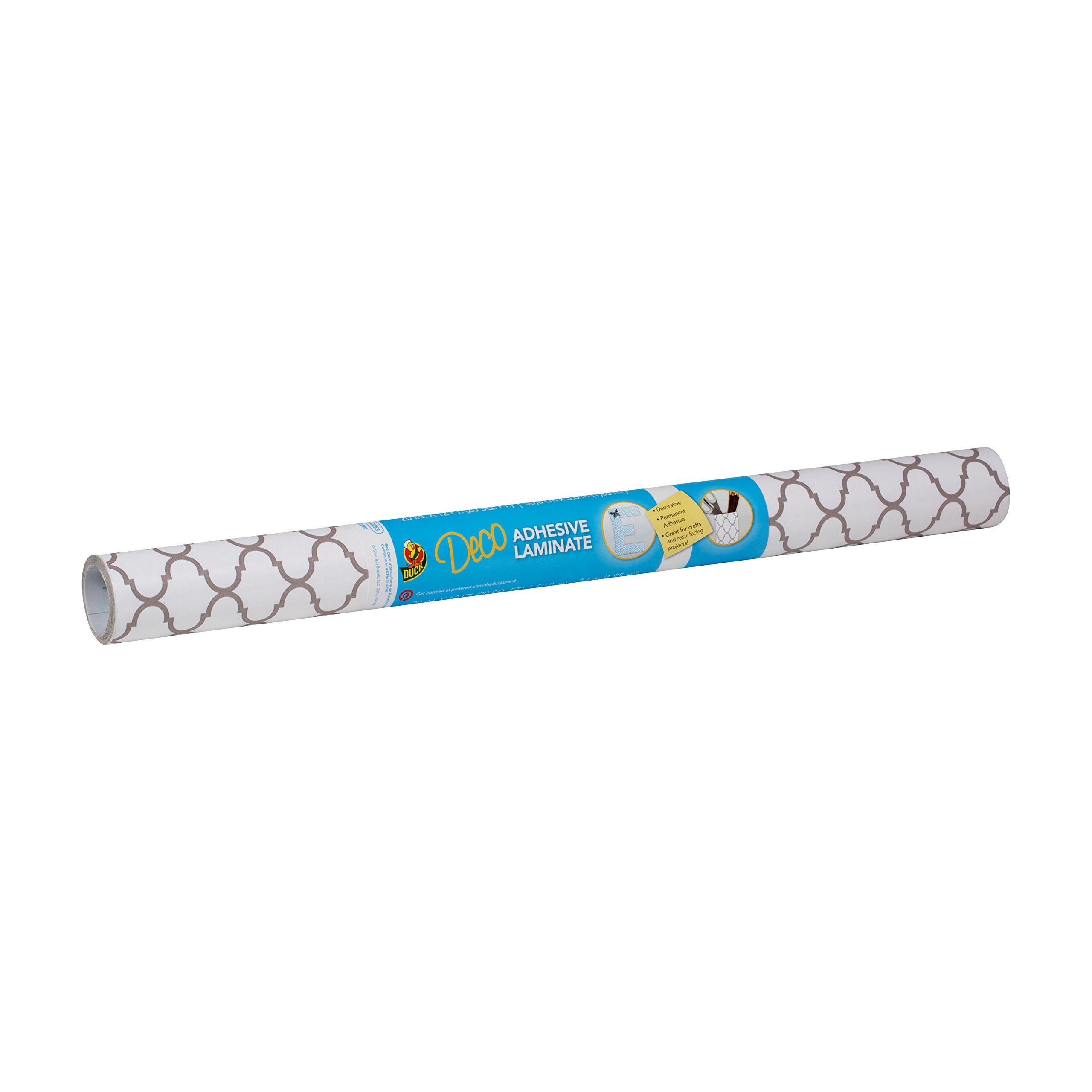 Duck Brand 284136 Deco Adhesive Laminate, 20-Inch x 12-Feet, Taupe Quatrefoil