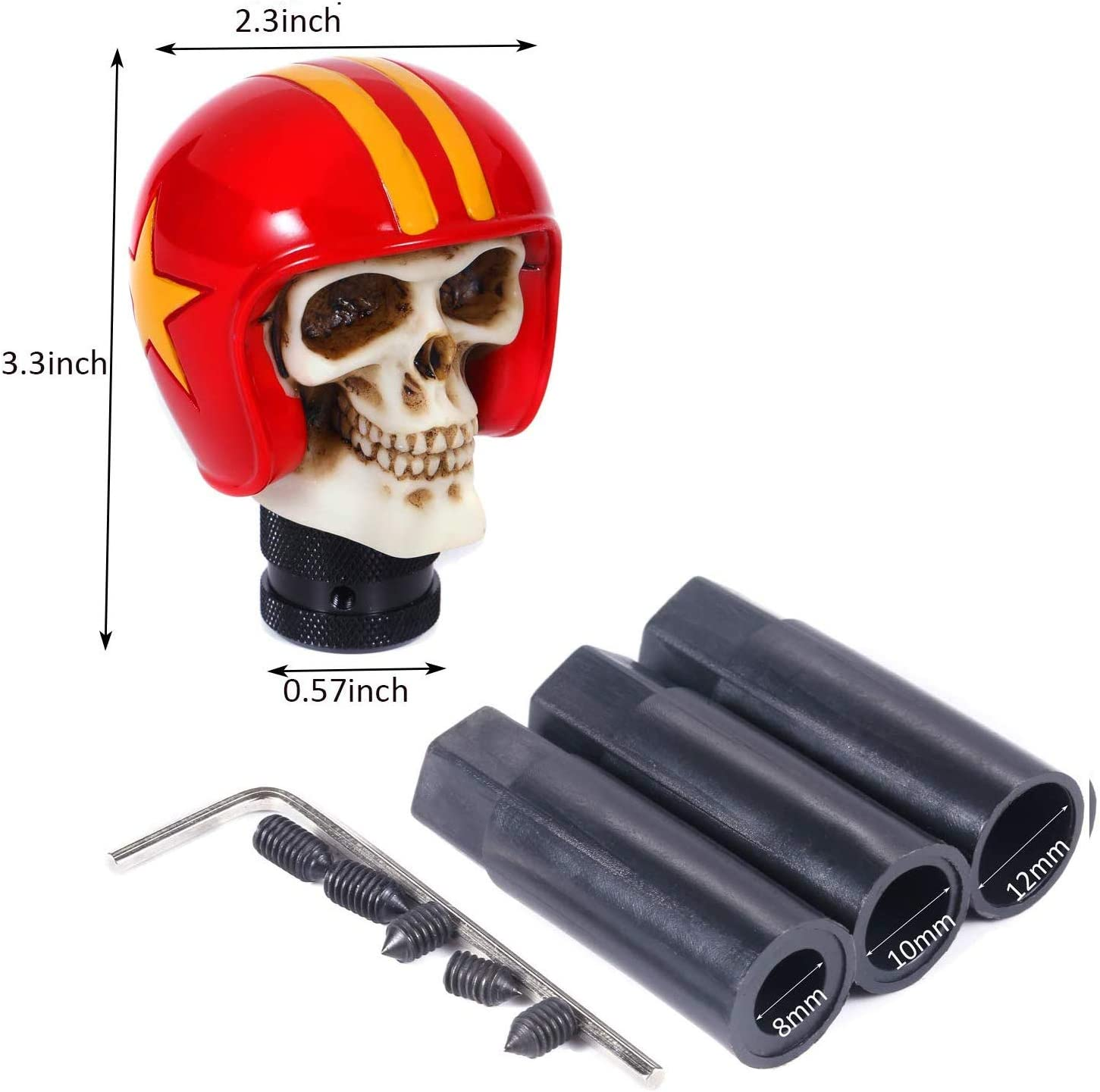 Bashineng Automatic Stick Shift Head Blue Skull Soldier Style Gear Shifter Knob Fit for Most Universal Manual Cars