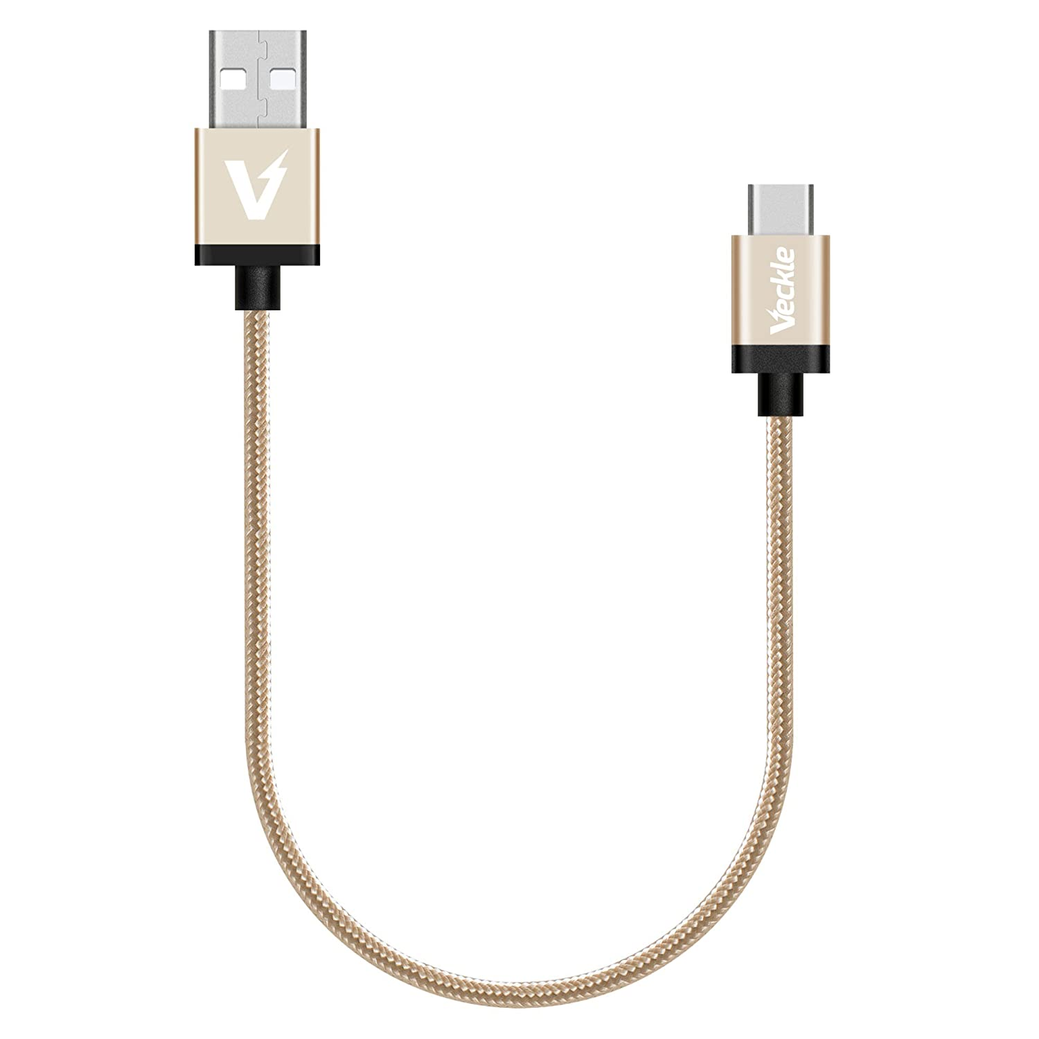 USB C Cable, Veckle Type C 1ft Braided Cable for Nintendo Switch, Samsung Galaxy S8, LG G5, OnePlus 2, Nexus 6P, 5X, Lumia 950, Nokia N1, Nextbit Robin and Other USB C Devices, Gold