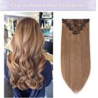 (25cm -110g, Dark Blonde (27)) - s-noilite Clip in Human Hair Extensions 100% Real Remy Thick True Double Weft Full Head 8 Pieces 18 clips Straight silky (25cm - 110g,Dark Blonde (27))