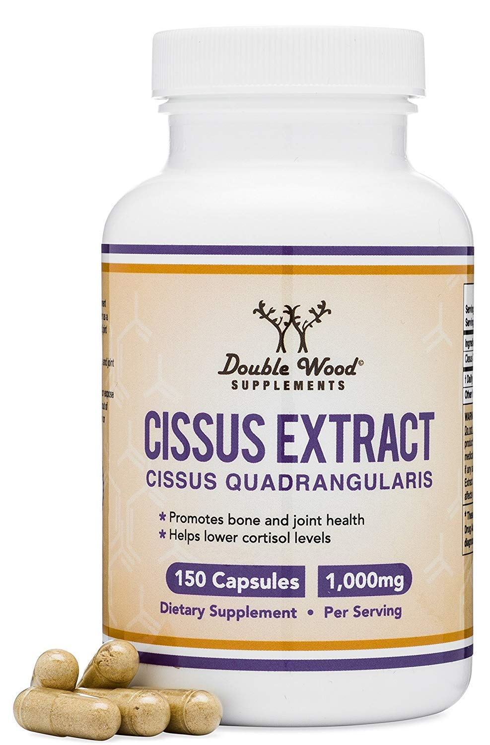 Cissus Quadrangularis Super Extract, 150 Capsules, Made in The USA, Dietary Supplement for Joint and Tendon Pain, 1000mg Serving Size by Double Wood Supplements