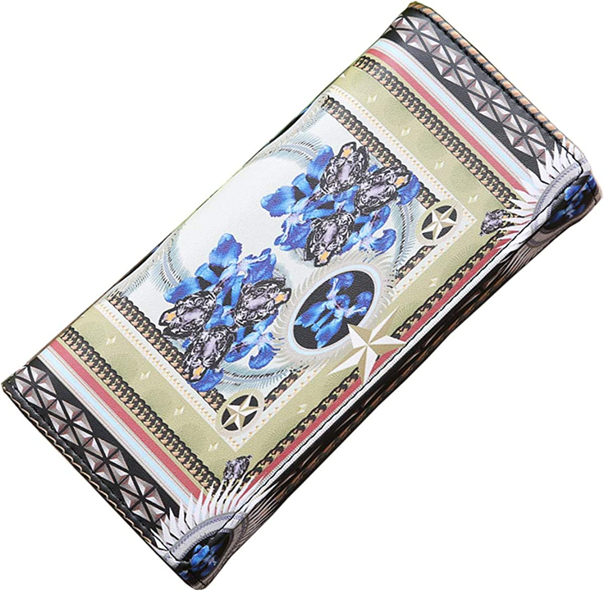 ZOONAI Women Vintage Long Leather Coin Purse Credit Card Holder Wallet