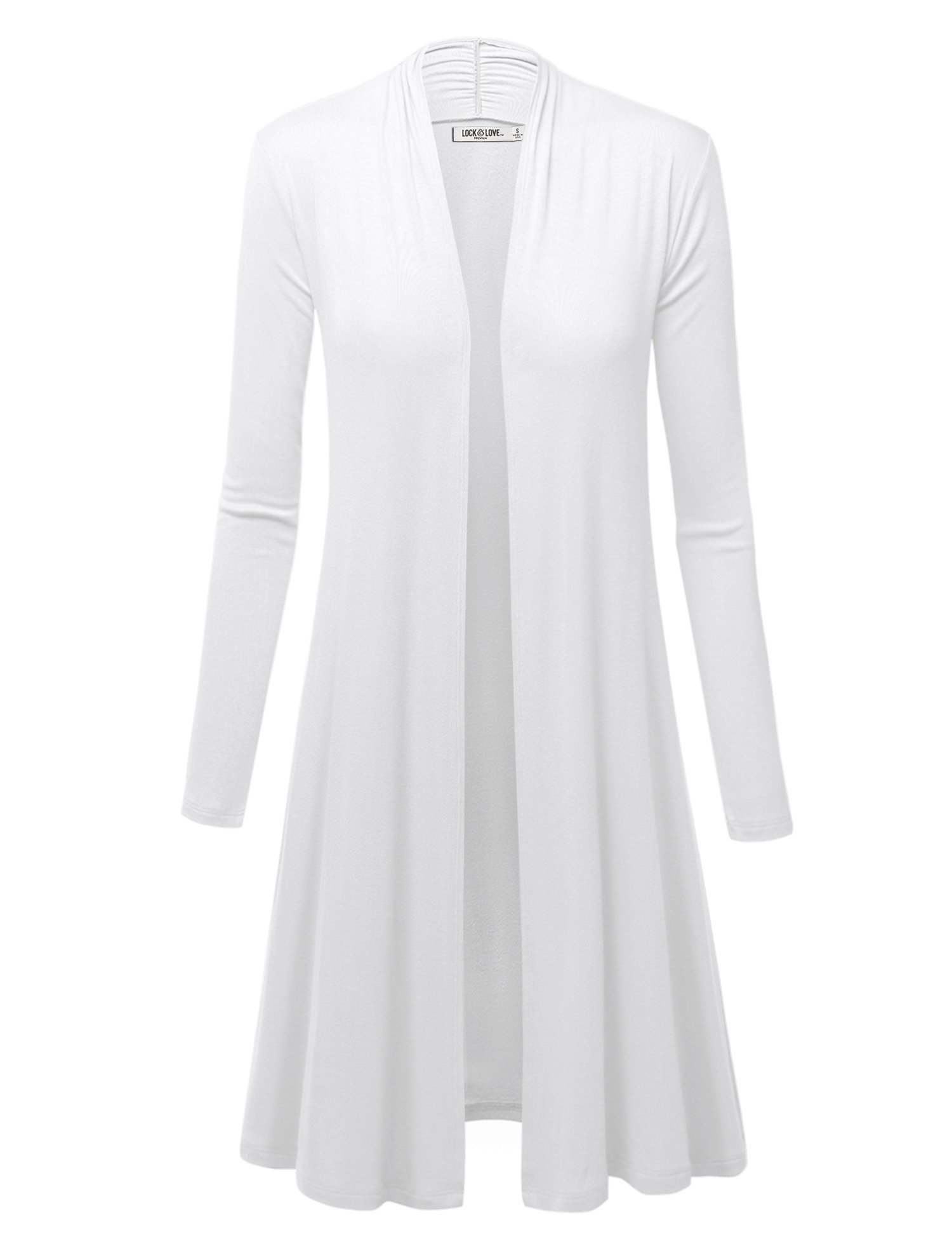 WSK1048 Womens Solid Long Sleeve Open Front Long Cardigan XL White
