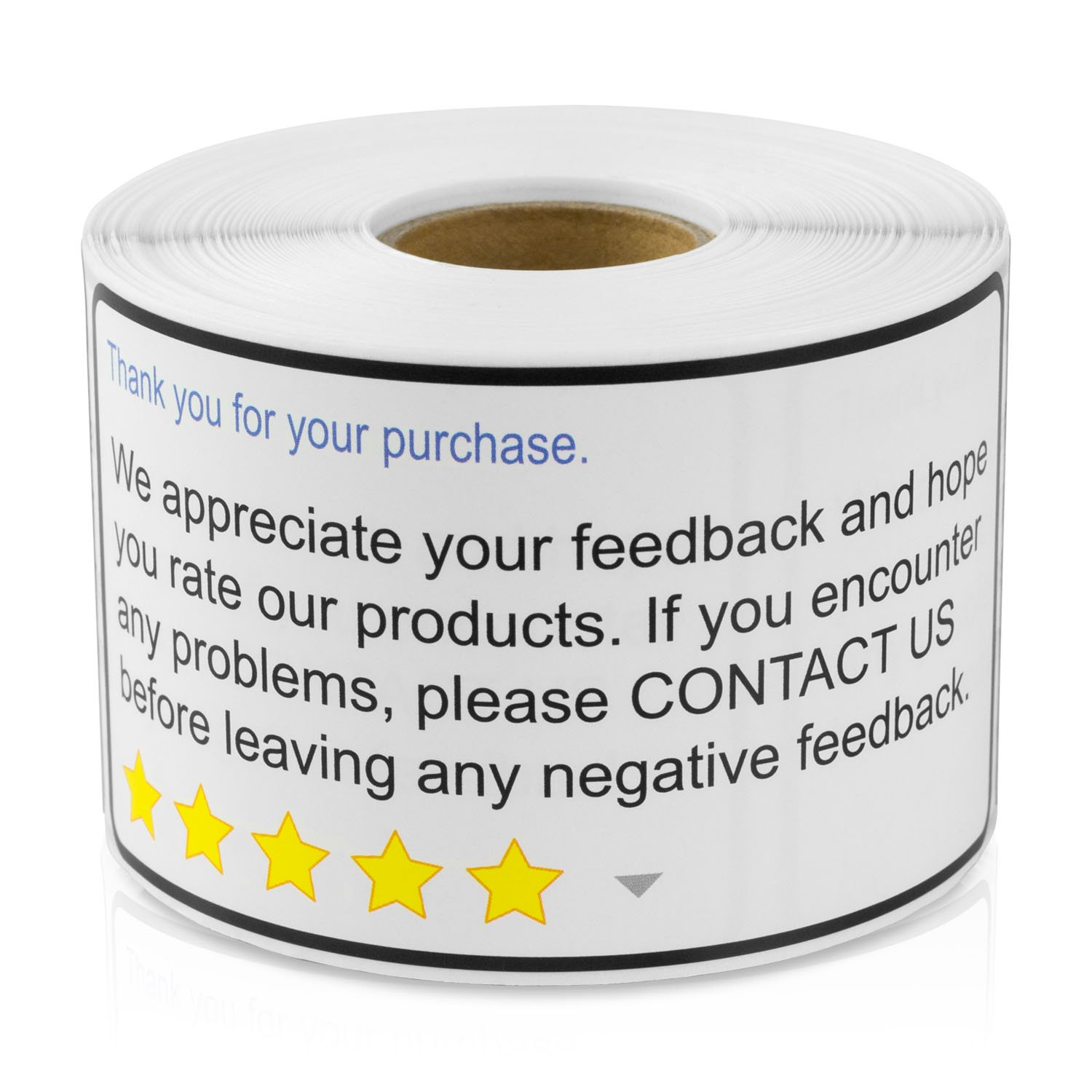 THANK YOU FOR YOUR PURCHASE 2''x 4'' Amazon Walmart eBay Thank You For Your Purchase Positive Negative Feedback (300 labels per roll / 10 rolls)