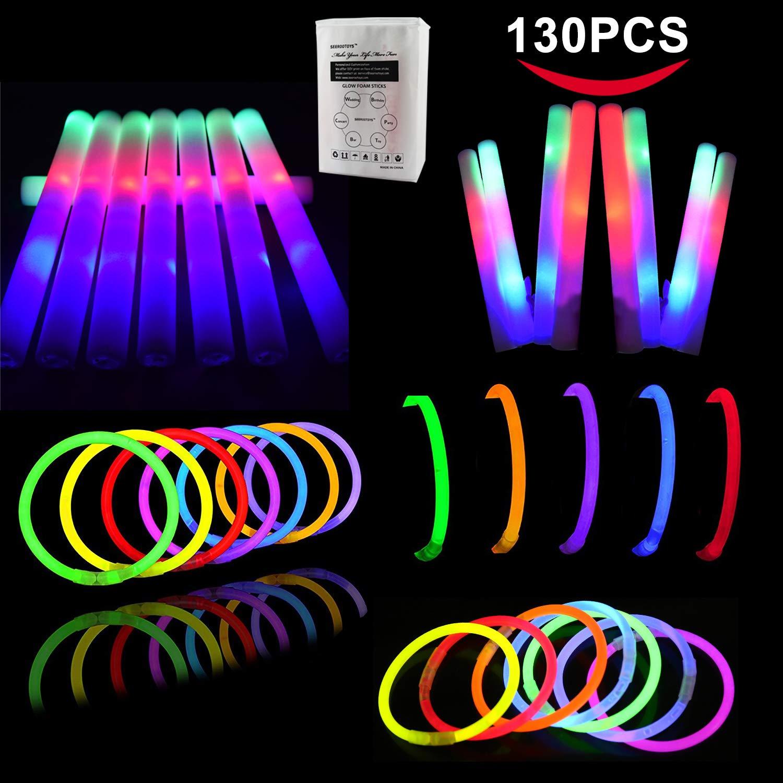 LifBetter 130 Pack Glow Sticks Bulk, 30 PCS Foam Glow Sticks and 100 PCS Glow Sticks , Flashing Glow in The Dark Party Supplies Light up Toys Bulk