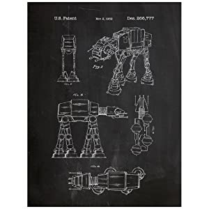 "Inked and Screened Star Wars at-at Design Patent Art Poster Silk Screen Print, 18"" W x 24"" L, Chalkboard"