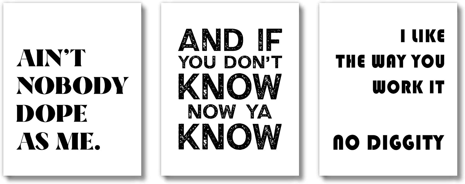 Brooke & Vine Hip Hop Music Posters Wall Art Prints (UNFRAMED 8 x 10 Set of 3) African American Rap Funny Bathroom Wall Decor, Bedroom, Dorm, Office Signs Posters - No Diggity White Background