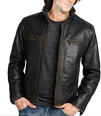 World of Leather Distressed Lambskin Leather Jacket Fur Biker Moto