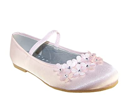 Girls Pale Pink Satin Flower Girl Ballerina Shoes With Flowers And
