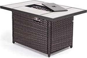 Grand patio Outdoor Propane Fire Pit Table with Cover/Lid for Patio, 43 inch 45,000 BTU,Wicker/Rectangle