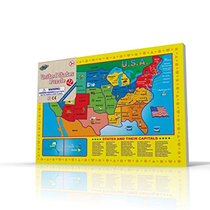 Amazon usa map puzzle for toddlers 17 pc large size us states usa map puzzle for toddlers 17 pc large size us states with cute pictures on gumiabroncs Images