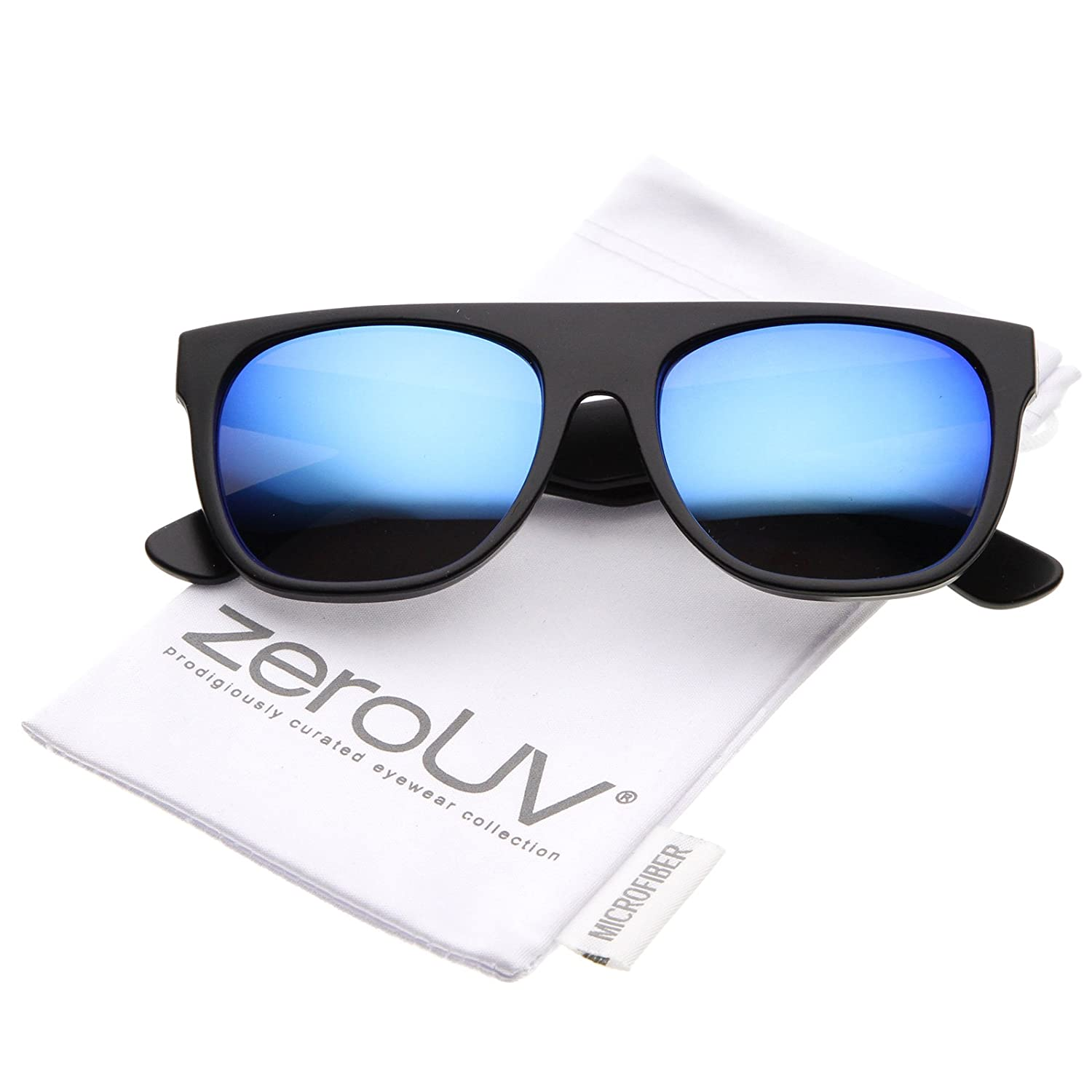 0f2878a26a Amazon.com  Modern Super Flat-Top Wide Temple Colored Mirror Lens Horn  Rimmed Sunglasses 55mm (Matte Black Blue Mirror)  Clothing