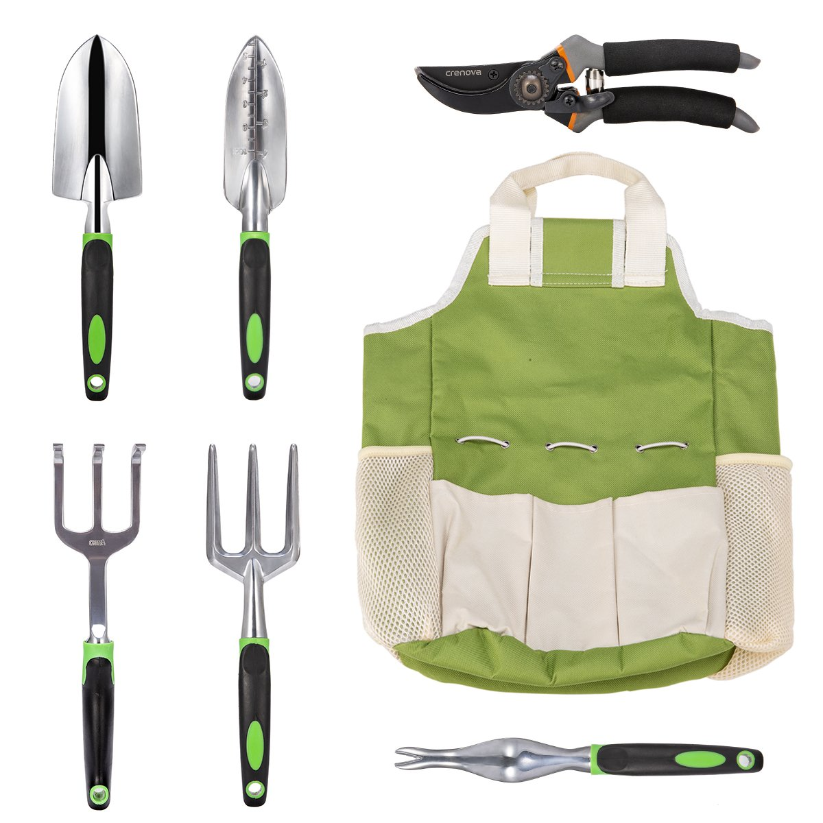 Crenova 7 Piece Garden Tools Set, Stainless Steel Heavy Duty Gardening Kit with Soft Rubberized Non-Slip Handle, Durable Storage Tote Bag and Pruning Shears, Best Garden Gift for Women & Men