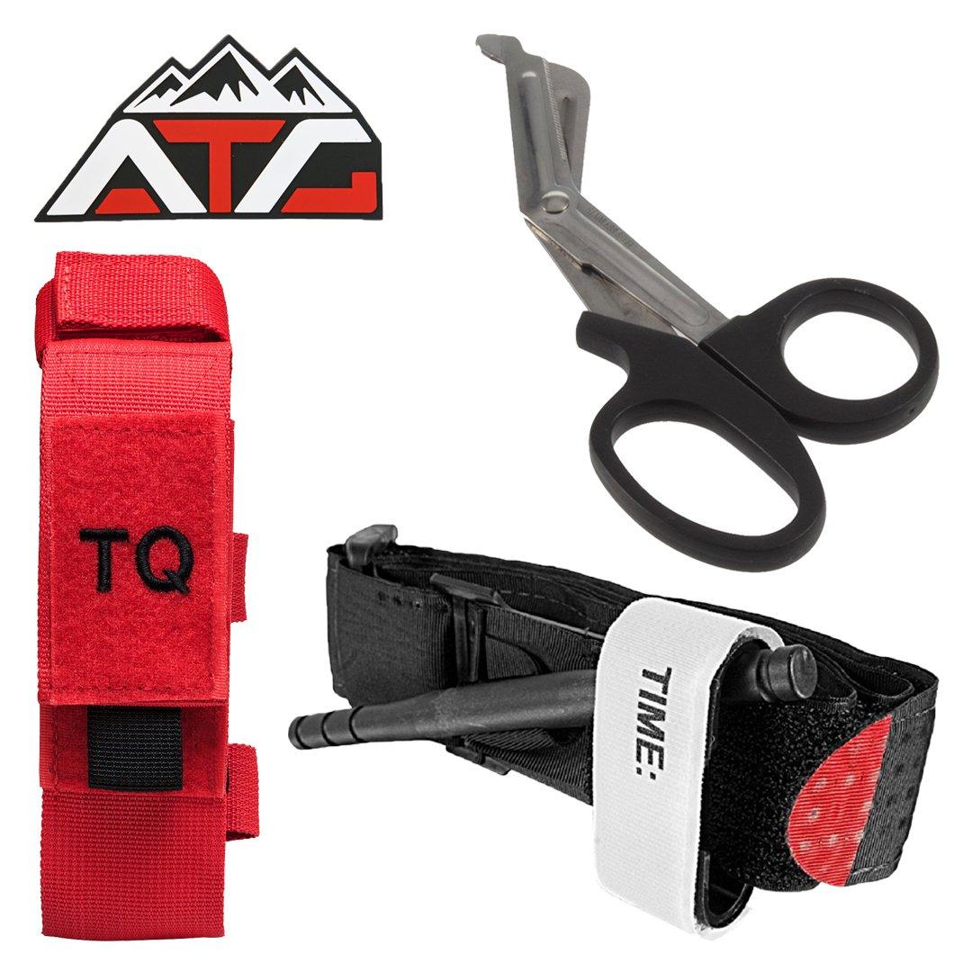 ATG Tactical Tourniquet & Trauma Medical Shear Pouch MOLLE PALS Duty Belt Loop EMT EMS PVC Rubber Velcro Patch Alta Tactical Gear