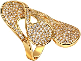 GOMORINGS Rings women gold plated with Cubic zirconia Big finger ring belly button rings jewelry