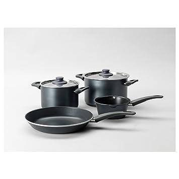 Juego de cacerolas, 6 piezas, gris 2 ollas con tapa y 2 sartenes. Gran adición a su casa y cocina.: Amazon.es: Hogar