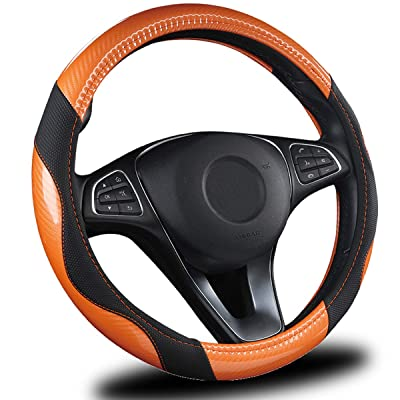 AmeriLuck Steering Wheel Cover for Car, Universal 15 inch, Odorless, Breathable, Anti-Slip, Sporty, Soft and Snug Grip, Carbon Fiber Effect (Orange | Back): Automotive [5Bkhe1007948]