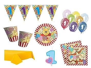 XXL Party Deko Set 1.Geburtstag Winnie Pooh Kindergeburtstag für 8 ...