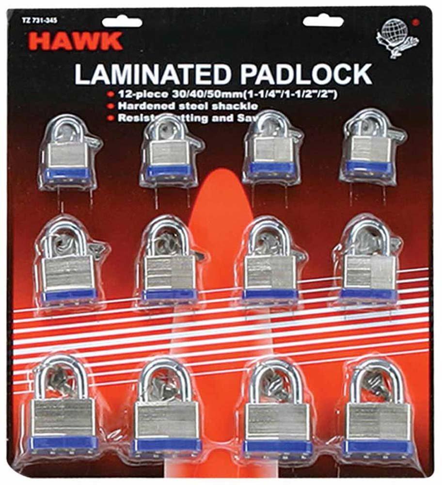 30/40/50mm Laminated Gate Padlock 12-piece Set : ( Pack of 2 pcs )