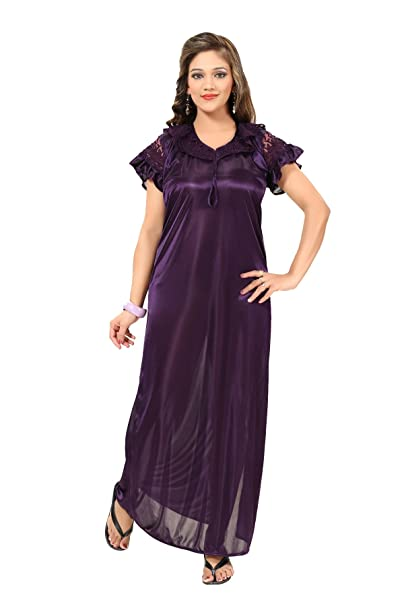 0973fb79bf Fashigo Women s Nightdress (FASNW032 Dark Purple Free Size)  Amazon ...